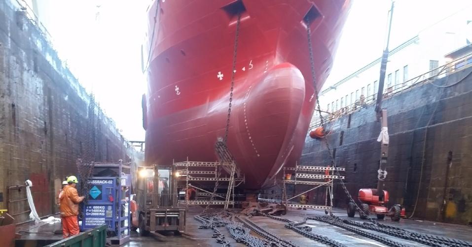 inspection in dry dock at shipyard in Stavanger